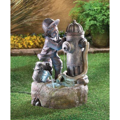 Boy Fireman Fire Hydrant Statue Amp Light Bird Bath Outdoor