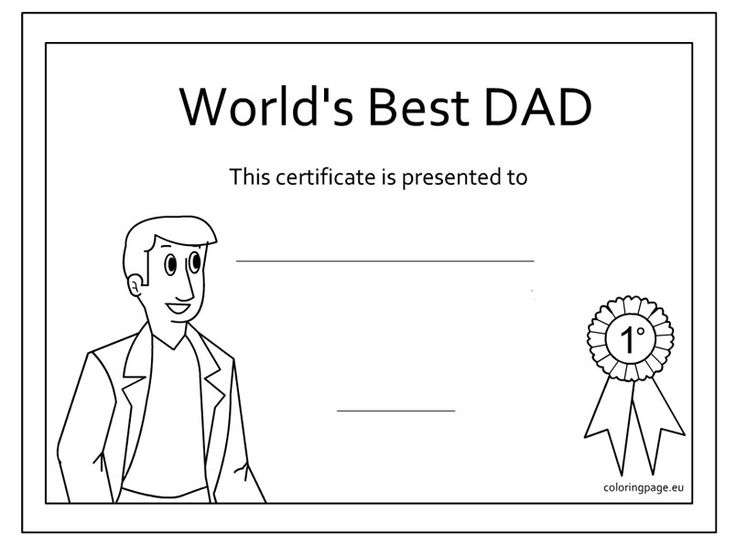 Fathers day award coloring page fathers day, i love my daddy coloring pages