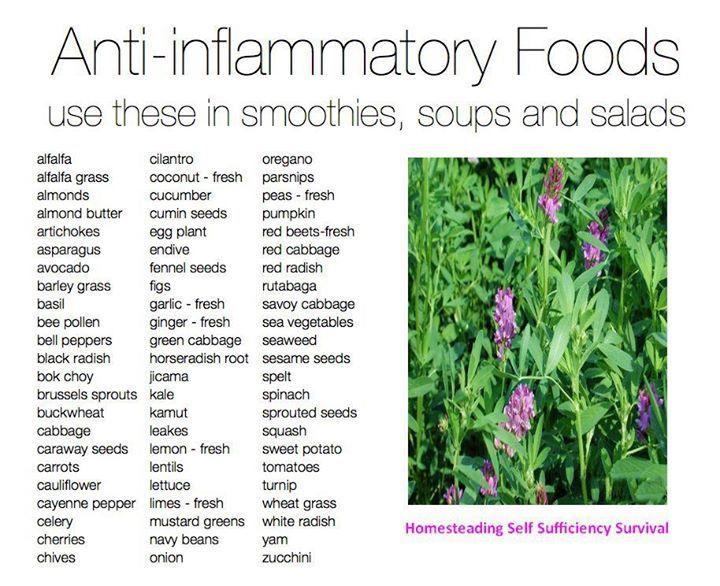 Anti Inflammatory Foods Chart Top