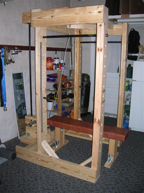 Homemade Power Rack Made Out Of Wood And Pipe Wood