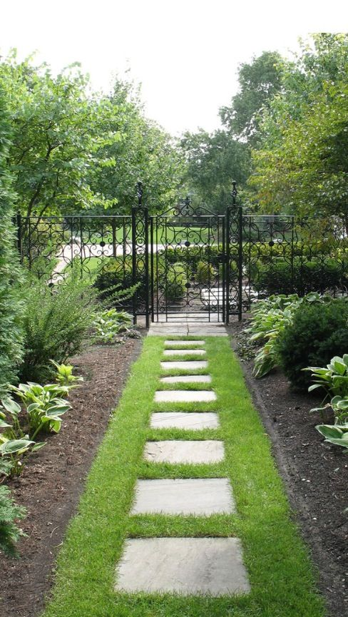 Narrow Grassy Path Between Flower Beds Great Idea For