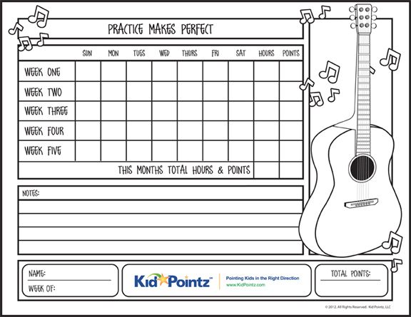 Printable Log Music Practice