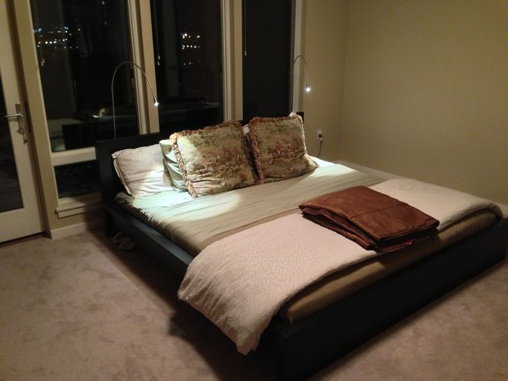 Low Profile King Size Ikea Malm Black Brown Pedestal Bed