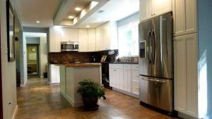 Kitchen Earth Tones In Tile Floor Tie Into Island Top