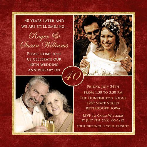 Invitation Cards 40th Wedding Anniversary
