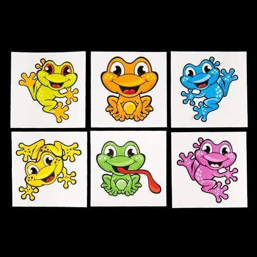 Colorful Peace Frog Tattoos