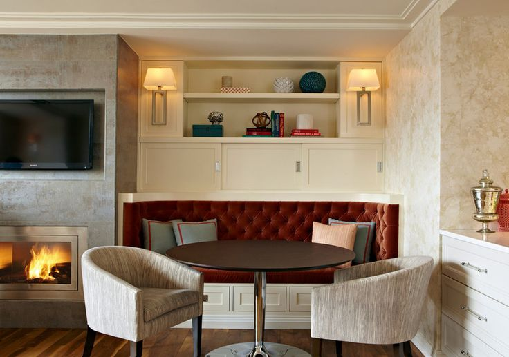 Banquette Flanking Fireplace And Tv Integrated Into Wall
