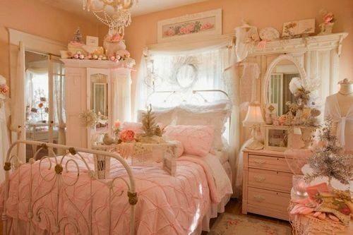 Victorian Bedroom Ultra Feminine Rosy Peach Pink Decor