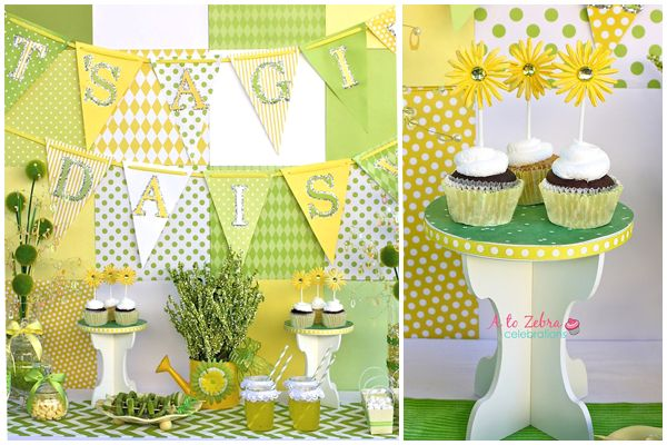 Yellow And Green Baby Shower Decorations