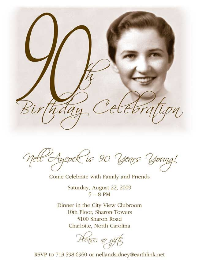 Birthday Invitations 90 Year Old Woman