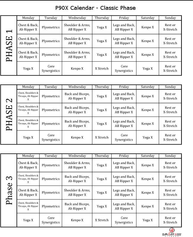 T25 Workout Schedule Print Out