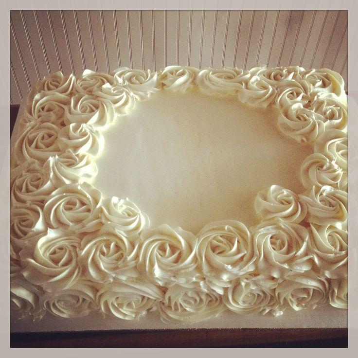 Buttercream Rose Sheet Cake Cakes Pinterest Powder