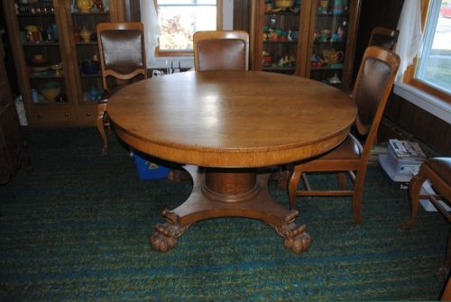 52 Inch Antique Round Oak Table 6 Antique Chairs