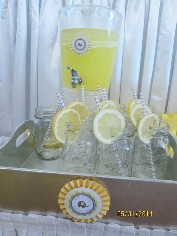 Yellow And Grey Elephant Baby Shower