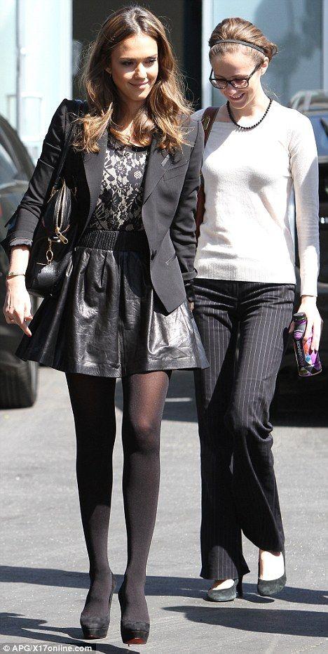 Jessica Alba Wearing Feather Skirt