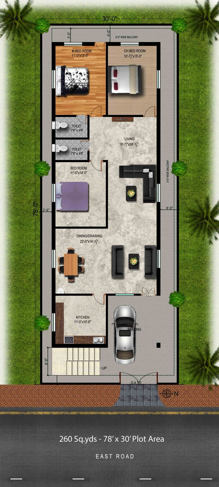 260 Sq Yds 30x78 Sq Ft East Face House 3bhk Floor Plan