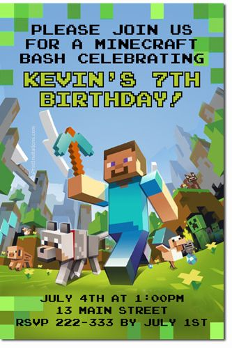 Party Minecraft Birthday Invitation 3d