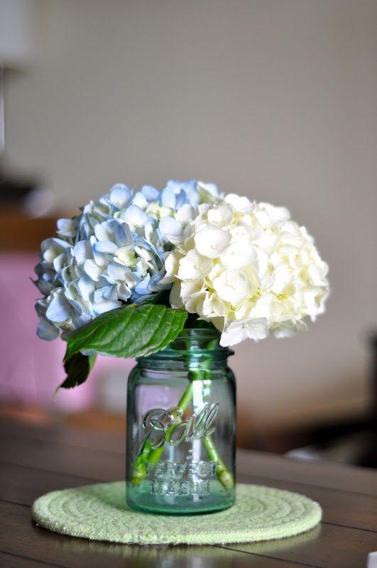 Mason Jar Centerpieces Weddings Blue Hydrangea