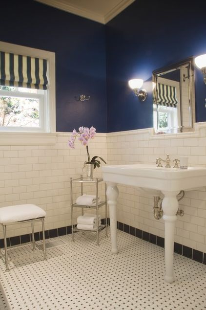 Navy Blue And White Bathroom This Would Work Really Well