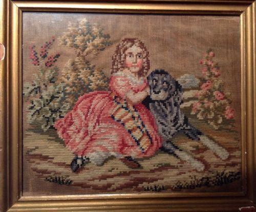 Antique Needlepoint Dog
