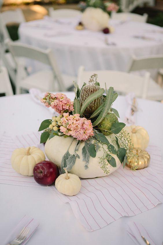 Fall Wedding Centerpieces White Pumpkins