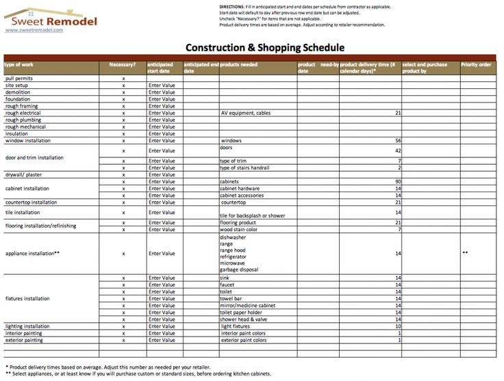 Residential Construction Bid Sheet