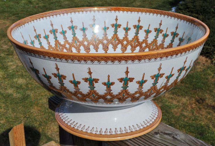 Antique Punch Bowl And Cups Deep Red