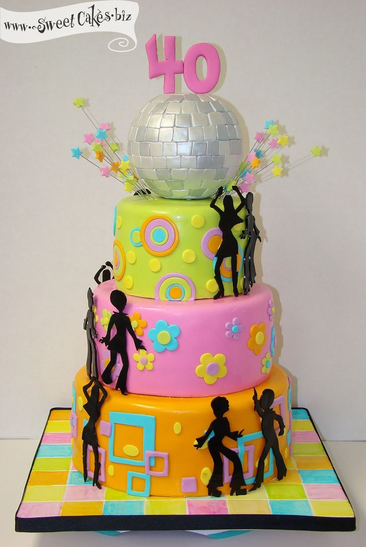 Groocy Disco Birthday Cake 60s 70s Theme Pinterest