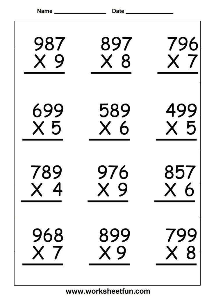 Worksheets Digit 5th 1 Multiplication 2 Digit Grade