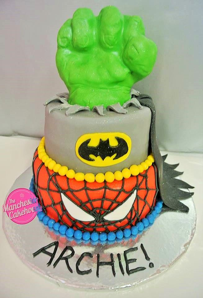 Superhero Hulk Batman And Spiderman Tiered Cake From The
