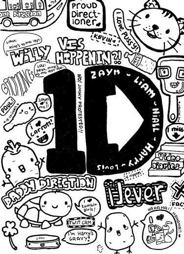 One And Cartoon Black Drawings Direction White