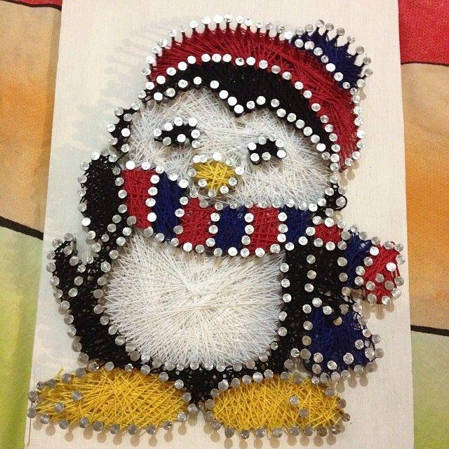 String Template Penguins Nails Art