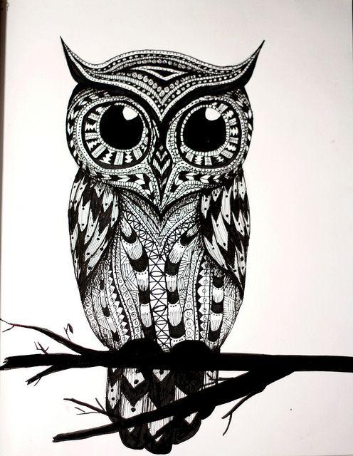 Owl Tribal Cute Drawings Tattoo