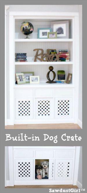 Dog Crate In A Built In Bookshelf Bloggers Best Diy