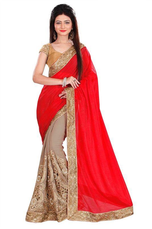 Red Heavy Saree Work Bridal Border Butti