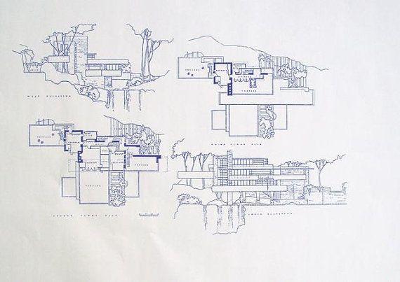Wright Falling Frank Blueprints Lloyd Waters