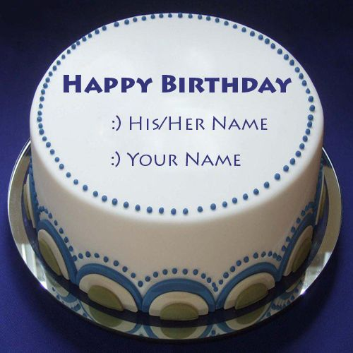 Write Name On Happy Birthday Blue Lagoon Cake Print Name