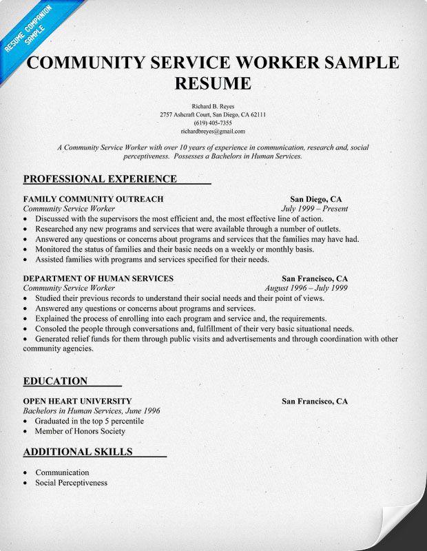 Community Worker Resume Sample Health