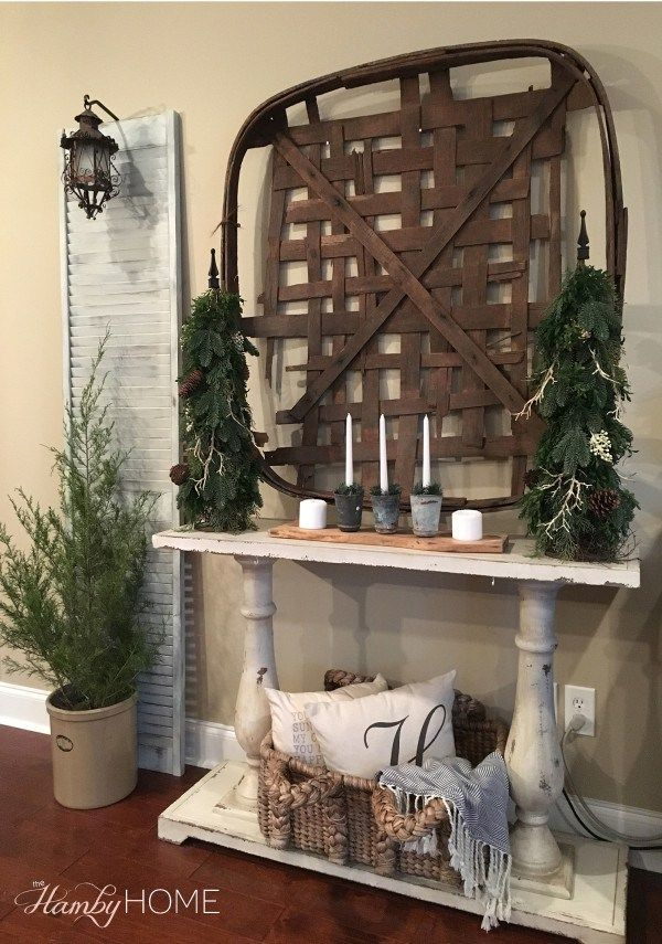 Basket Decor Ideas   Elitflat Neutral Winter Decor Tobacco Basket Decor The Hamby Home