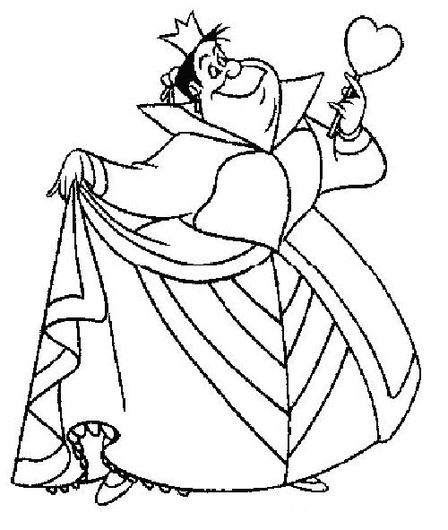 Red Queen Alice Wonderland Coloring Page