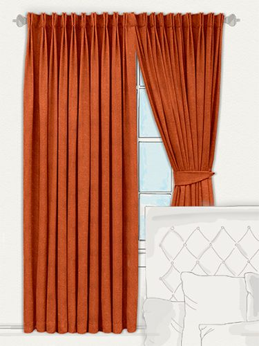 Burnt Red Curtains Wall