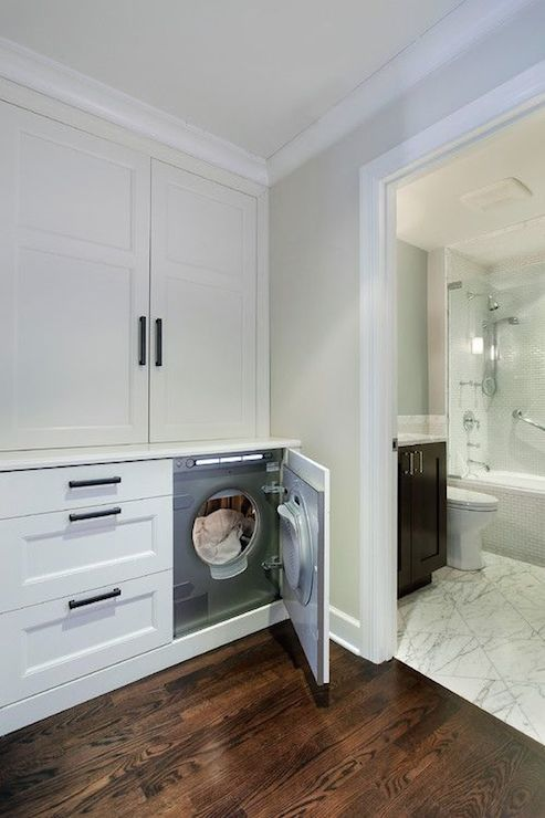 Hidden Washer and Dryer - Transitional - laundry room - 2 ...