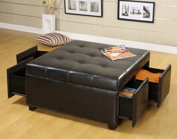 Tufted Ottoman Leather Large