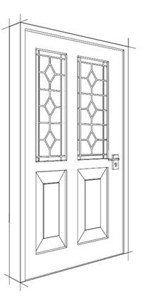 Drawing Design For A Single Wooden Front Door Single