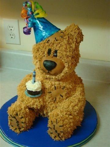 Bear Cake Holding A One Brooklynn S Beary Cute Party