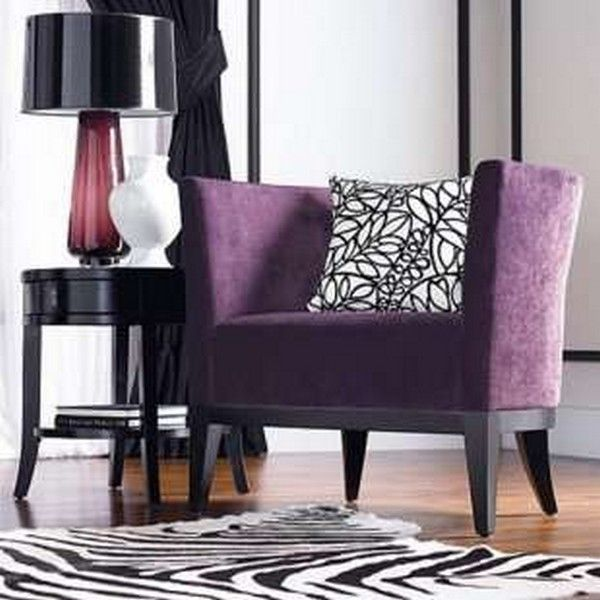 Purple And Grey Accent Chair