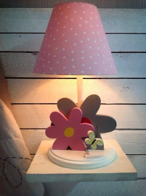 Flowers Lamp In Grey And Pink For Girl Room Decor Kids