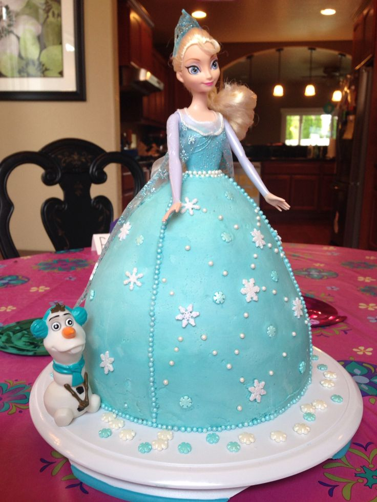 "Elsa Cake for J's 4th! One 8"" round cake + dress mold cake ..."