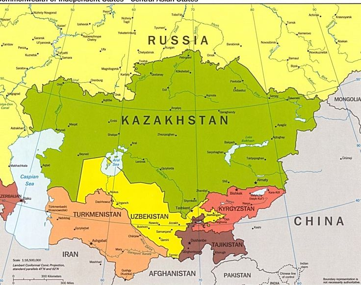 Ural Mountains Physical Map Central Asia