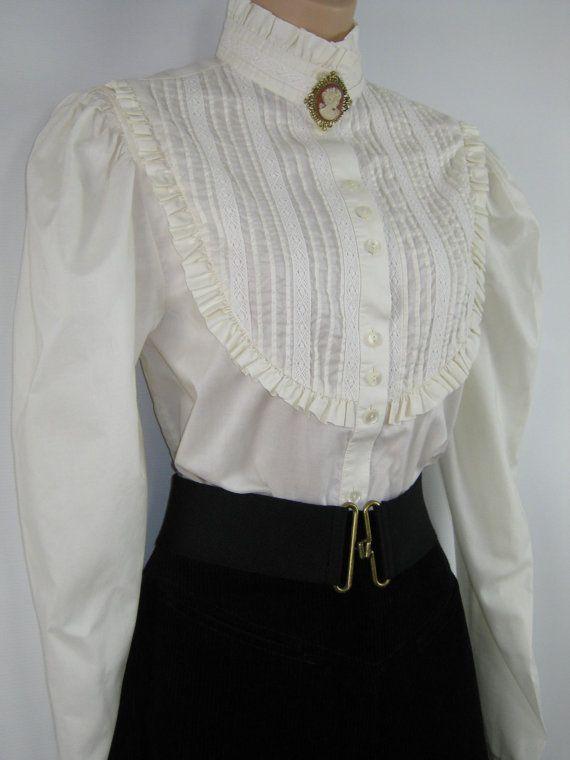 Blouses White Silk Satin